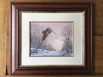 Framed Watercolor - WOODCOCK IN FLIGHT - Mark Chester, English Wild-Life Artist