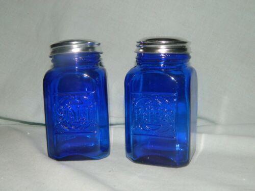 Lg Cobalt Blue Range Top Depression Style Retro Glass Salt and Pepper Shakers