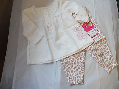 CARTERS 2 PIECE BABY GIRLS PANT SET KITTY CAT NWT SO CUTE!!