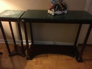 2 Bombay tables marble top