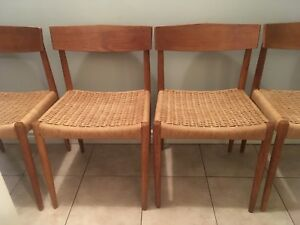 Mid century modern Teak and danish cord chairs - made in Denmark