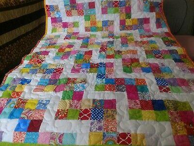 Handmade Pieced 6 Patch Rail Fence Boy Girl Baby Lap Crib Quilt Throw Blanket