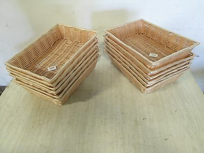 LOT OF (12) NEW TABLE CRAFT COMMERCIAL BAKERY, PRODUCE NATURAL HANDWOVEN BASKETS