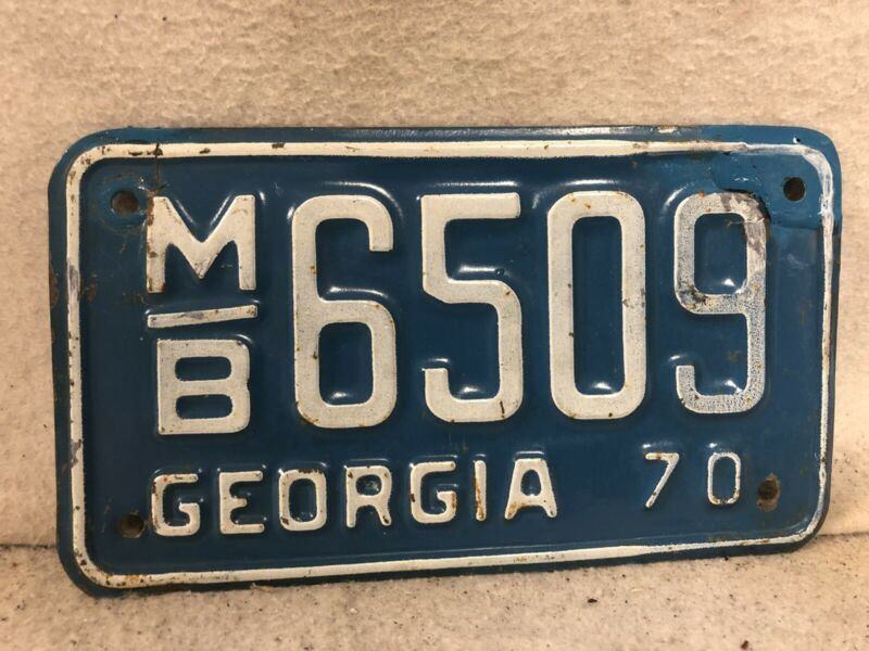 Vintage 1970 Georgia Motorcycle License Plate