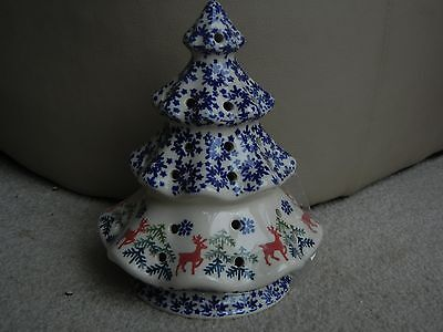 (Polish pottery stoneware Boleslawiec  tree light reindeer)