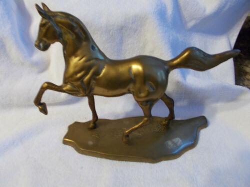 "BRASS Horse Statue Sculpture Prancing Trotting Equestrian 10""Lx8""T VTG HEAVY"