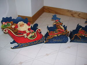 VTG HALLMARK CHRISTMAS DIE CUT FOLD UP SANTA SLEIGH REINDEER DECORATION CLEAN