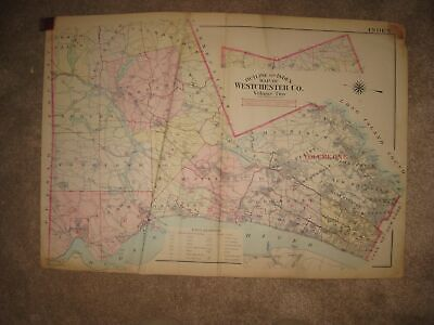 ANTIQUE WESTCHESTER COUNTY NEW YORK MAP HARRISON RYE NEW ROCHELLE GREENBURGH NR County New York Antique Map