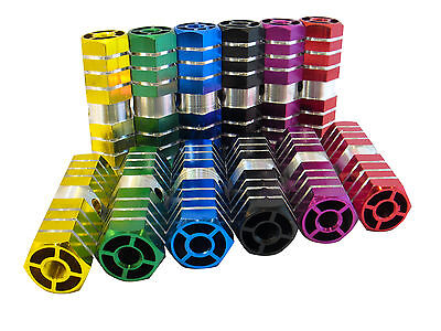 BMX HEXAGONAL STUNT PEGS ALLOY ANODISED 6 COLOURS
