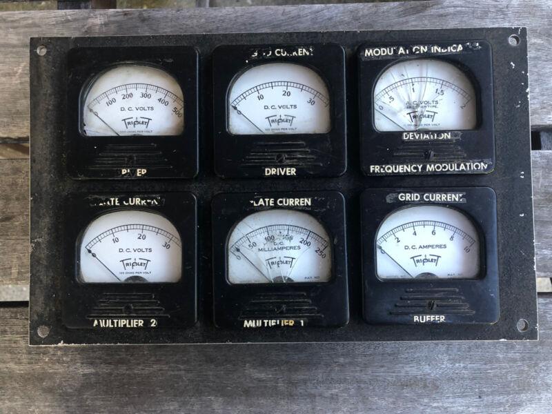 Vintage (6) TRIPLETT DC Milliamperes Meter Volts Amos Bakelite Panel - Steampunk