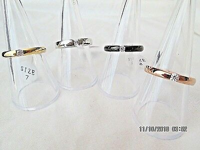 CZ Tension Set Rings Stacking Rose Gold Silver Gold Stainless Steel New Design