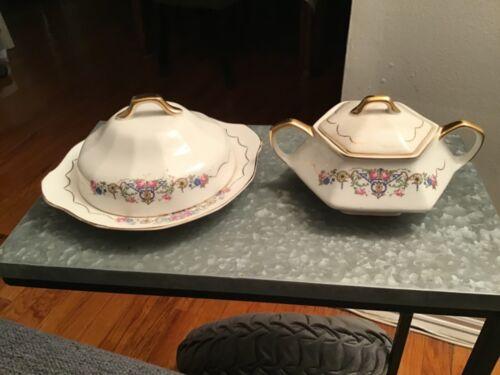 S. C. Co. Martha Washington Lid Sugar Bowl 5 G & Butter Dish 4 B w Insert & Lid
