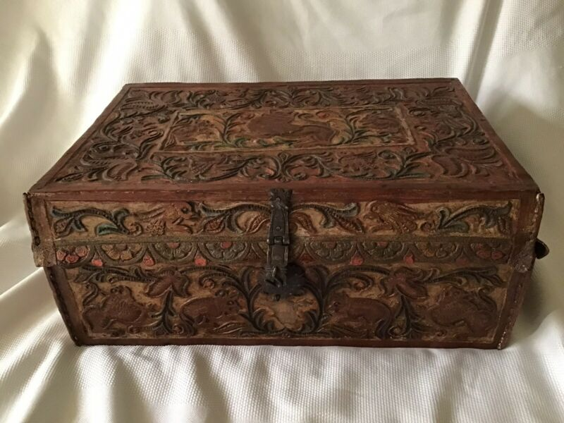 Antique Hand Tooled 18th-19th Spanish Colonial Leather Petaca Document Box Chest