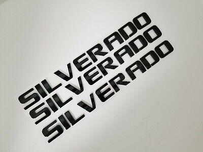3pc Black SILVERADO rear DOOR BADGE fit Chevy Nameplate liftgate Letters Emblem