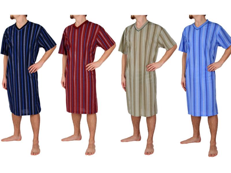 Herrennachthemd, kurzarm, 100% Baumwolle, M L XL XXL XXXL