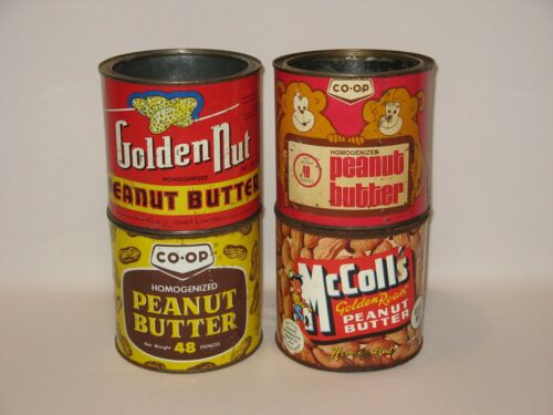 Lot of 4 Vintage Peanut Butter Tins/Cans - Golden Nut, McColl