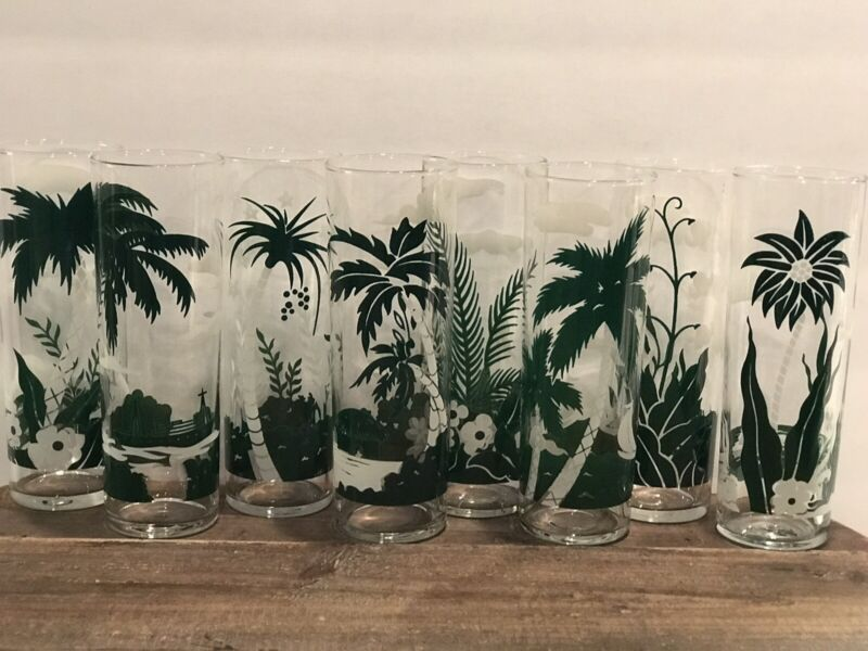 """Vintage Libbey Set Of 8 Tropical 7"""" Palm Trees High Ball Drinking Glasses -Rare!"""