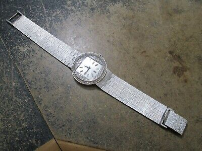 LONGINES RUNNING UNUSUAL WHITE 14K GOLD CUSTOM DIAMOND BEZEL & DIAL WRIST WATCH