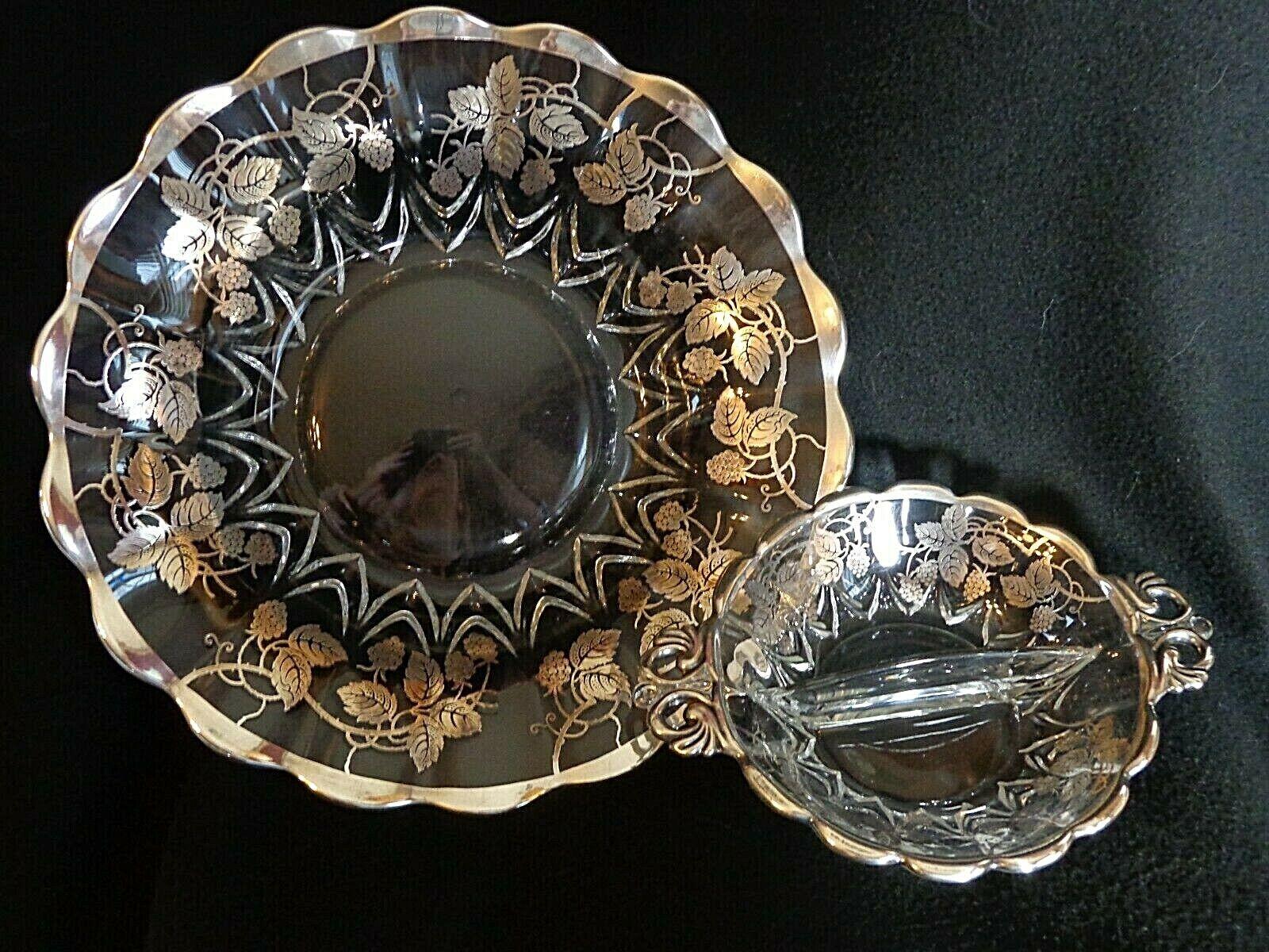 2 New Martinsville Janice Elegant Glass Silver Overlay Bowls - $20.00