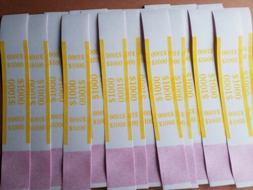 25  Self-Sealing Yellow $1000 Straps Currency Bands for bank money cash bill