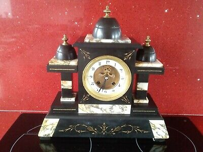 Antique Architectural Large Slate and Marble Mantle Clock.Working.