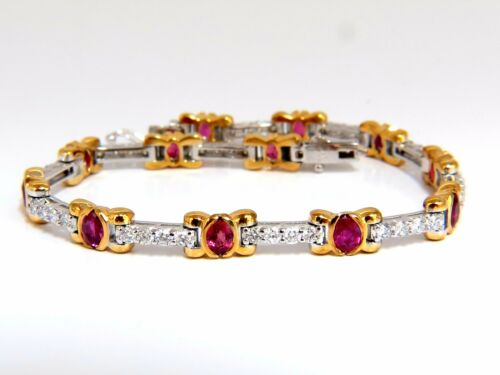 3.76ct Natural Ruby Diamonds Tennis Bracelet 14kt Vivid Red+