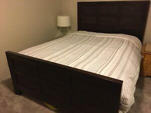 Solid wood queen bed