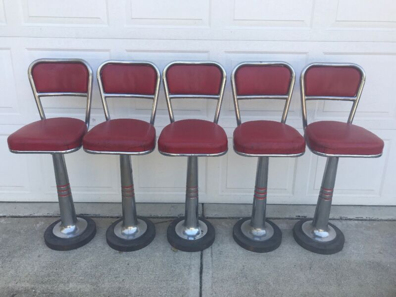 5 Vintage Ice Cream Parlor Stools Bar Chairs Soda Fountain Retro Isaly's Dairy