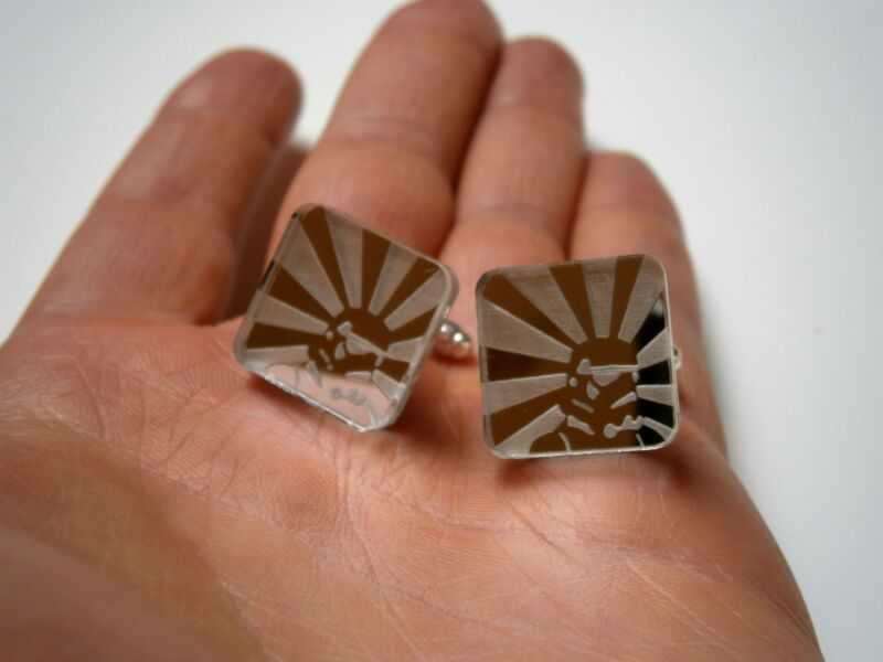 Stormtrooper Cufflinks, Engraved and Lasercut Star Wars Jewelry mirror logo
