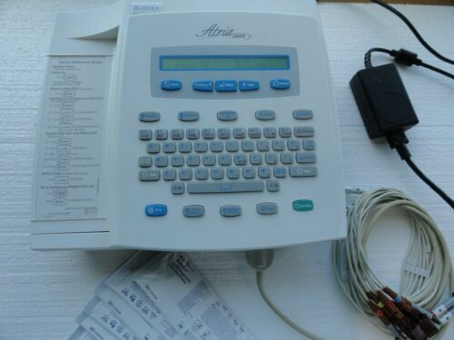 Burdick Atria 3000 Interpretive EKG ECG Machine w/ Power Supply + Cable & Leads