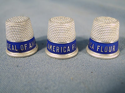 Vintage set of 3 Seal of America Flour Advertising Silver color Thimbles c1900s