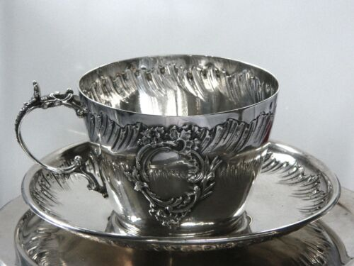 Antique c. 1850 French Sterling Silver Teacup & Saucer Henri-Louis Chenaillier