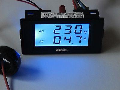 Digital Ac 300v 100a Blue Lcd Dual Panel Volt Amp Combo Meterct 110v 220v Ct