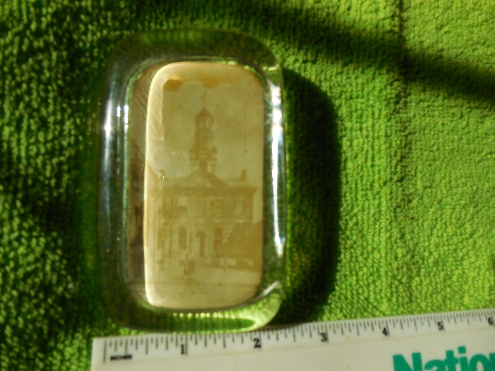Vintage Glass Paperweight, City Hall, Wilmington, Delaware - $3.99