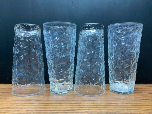 "Vintage Anchor Hocking Lido Milano Clear Glass Tumblers 6 3/8"" Tall Set of 4"