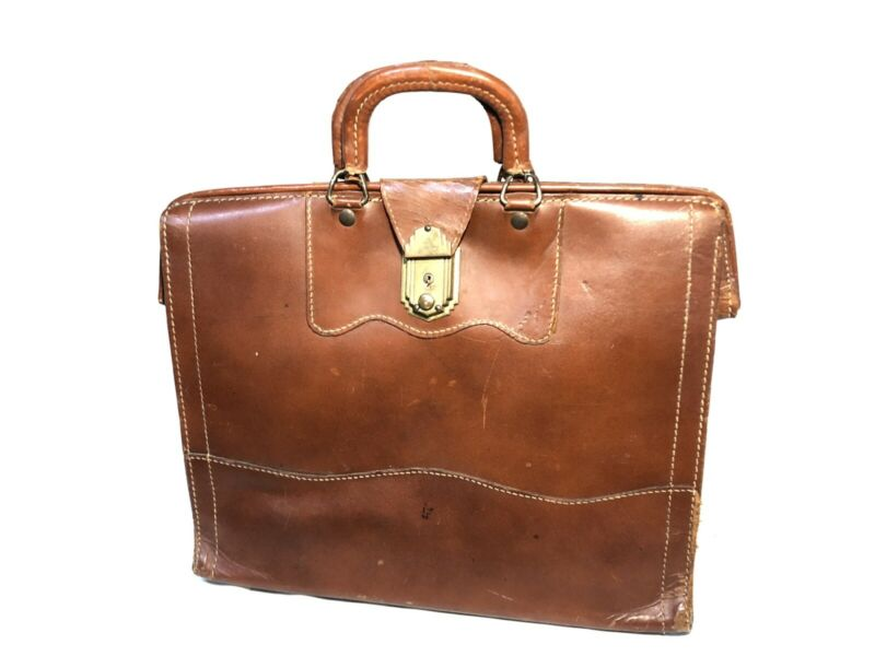 VINTAGE TANNERS COUNCIL OF AMERICA TOP GRAIN BROWN LEATHER BRIEFCASE DR