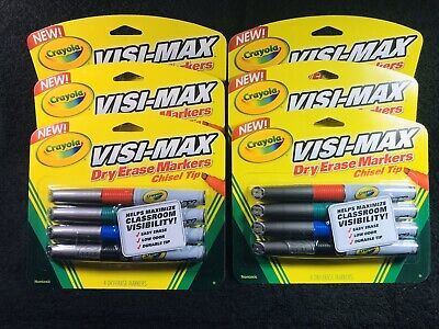 Lot Of 6 Packs Crayola Visi-max Dry Erase Chisel Tip Markers Teachers Lot New