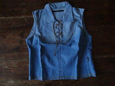 Chemise sans manche en jean ( col à lacets )  de marque lee