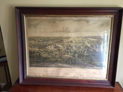 1876 Philadelphia Centennial Exposition bird's eye view print lithograph