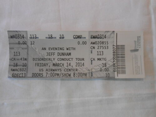 Jeff Dunham Full unused concert ticket in excellent shape.  Mar 14th 2014