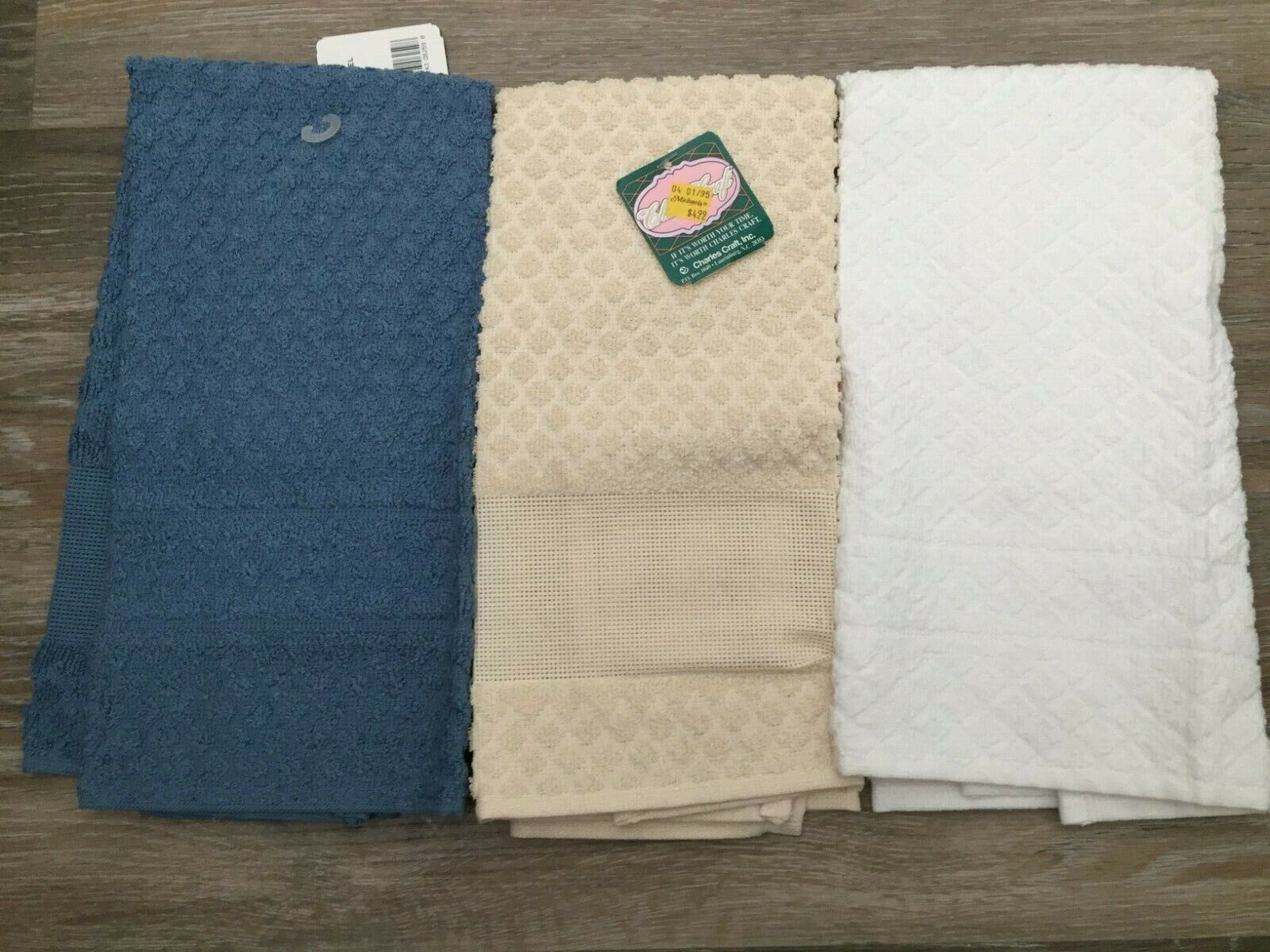 3- Kitchen Towels with Aida Cloth Panel for Embroidery - NEW