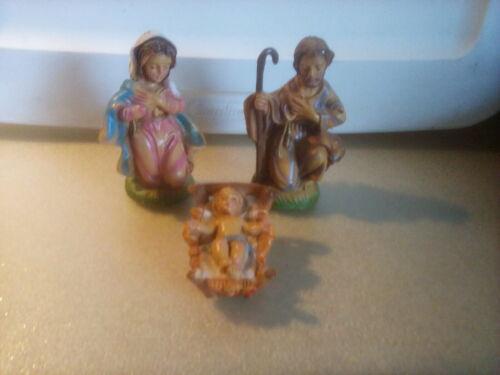 """Lot 3 Fontanini Italy Manger Nativity Set  Figures Baby Jesus Mary Joseph 3.5"""""""