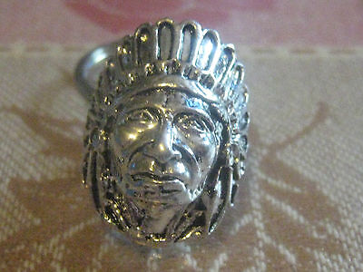 SILVER TONE AMERICAN SOUTHWEST INDIAN CHIEF RING KEYCHAIN KEY CHAIN