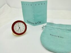 TIFFANY SMALL RED ENAMELED BRASS FOLD UP TRAVEL ALARM CLOCK,WORKS,POUCH,MANUAL