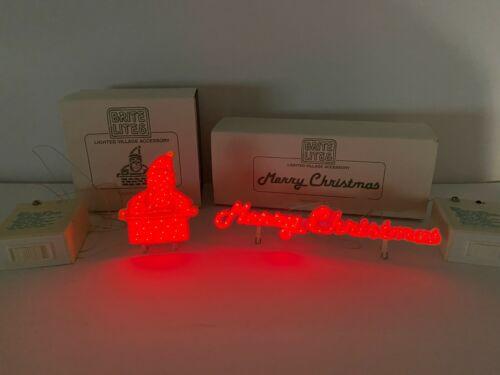Lemax Brite Lites Christmas Village Lighted Merry Christmas Sign & Santa Chimney
