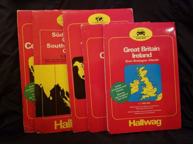 Vintage Hallwag European maps Lot of 5