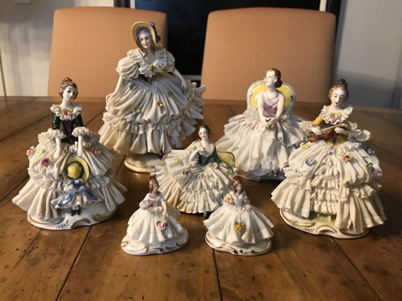 Dresden Post 1950's Figurines Mark F For Shipped To America And 1 R