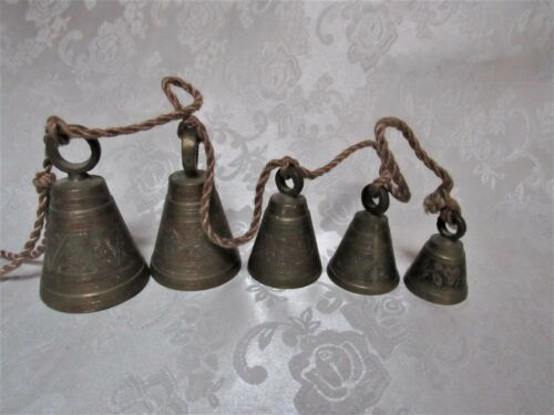 """5 Vintage Authentic India Etched Brass Bell Wind Chimes on a Rope * 38"""" Long"""