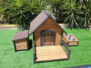 Outdoor Kennel Large Big Pet Dog House Wooden Home Timber Bowls Extra