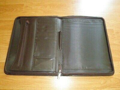 Leather Padfolio Zip Around Organizer Letter Notepad Pen Holder